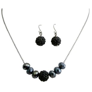 Contemporary Style Jet Pave Ball & Black Diamond Crystals Jewelry Set