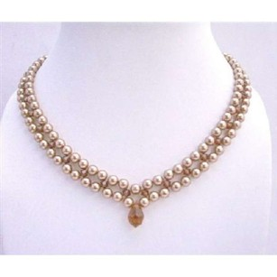 Custom Bridal Bridemaid Necklace Swarovski Bronze Pearls Smoked Topaz