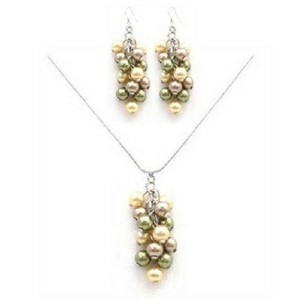 Green/Gold/Bronze Custom Your Pearls Grape Pearls Necklace Jewelry Set