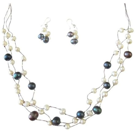 Off White/Tahitian Dark Blue Freshwater Pearls Three Stranded Silk Necklace Jewelry Set