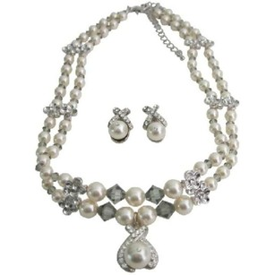 Double Stranded Cream Pearls Genuine Swarovski Crystals Choker Jewelry