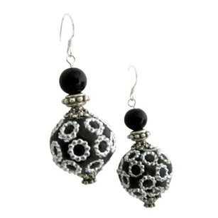 Ethnic Elegant Handmade Bead Holiday Gift Silver 92.5 Hook Earrings