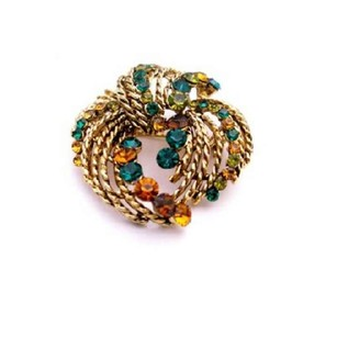 Ethnic Prom Brooch Mutli Colored W/ Multi Stripes Brooch Dress Brooch