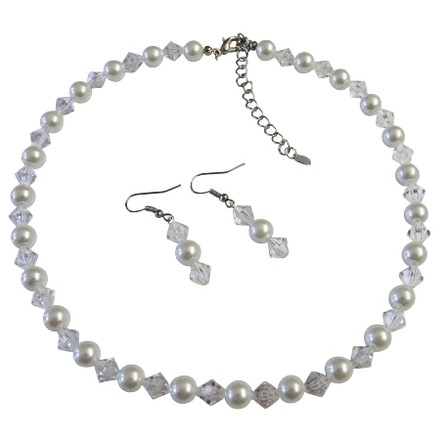 White Exclusive Fashionable Bridesmaid Clear Crystals Pearls Jewelry Set