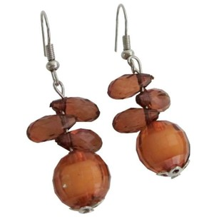 Fashion Chocolate Brown Glass Beads Earrings