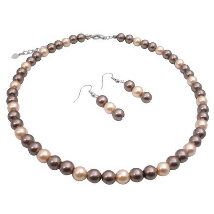 Bronze/Peach Fashionable Bridesmaid Pearls Pearls Necklace Jewelry Set