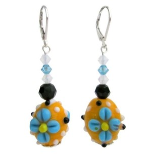 Fashionable Lampwork Beads & Swarovski Crystals Dangling Earrings