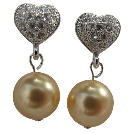 Fine Jewelry In Yellow Pearl Heart Post Earrings