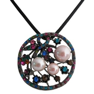 Floral Round Pendant With Multi Colored Crystals Necklace