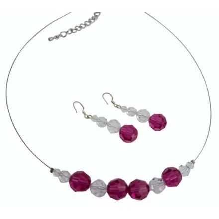 Clear/Fuchsia Flower Girl Swarovski Crystals Round Crystals Necklace Jewelry Set