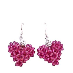 Fuchsia Swarovski Crystals Puffy Heart Earrings Artist Creation