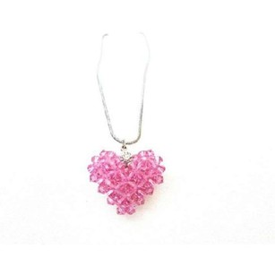 Genuine Swarovski Rose Crystals Handmade Puffy Heart Pendant Necklace