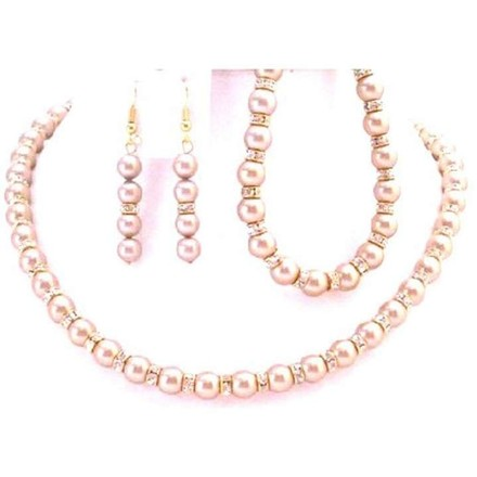Champagne Glimmering Necklace Earrings Bracelet Pearls Gold Rondells Jewelry Set