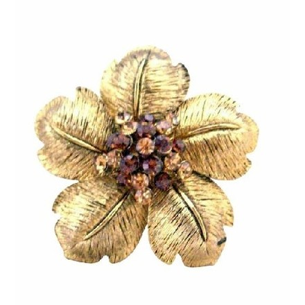 Gold/Brown Flower Petals with Smoked Topaz Topaz Brooch 2 X 2 Inches