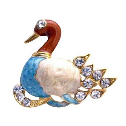 Multicolor Gold Plated Colorful Duckling Decorated with Cubic Zircon Brooch/Pin