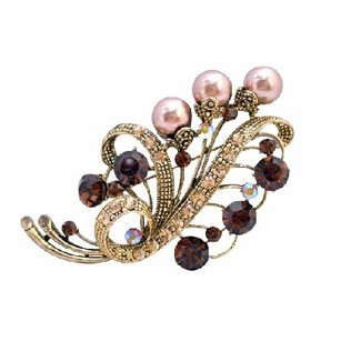 Champagne/Brown Gold Smoked Topaz Pearls Or Maid Brooch/Pin