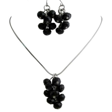 Jet Crystals Bunch Grape Style Jewelry Free Shipping In Usa