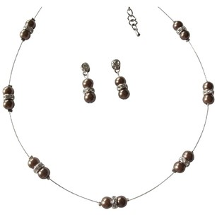 Lustrous Brown Pearl Adorned In Illusion Lovely Necklace Earrings