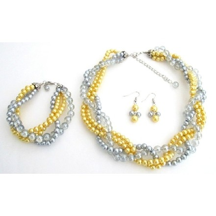 Custom Listing For Corri D - Luxurious Braid Four Strand Yellow Gray Pearls Twisted Necklace Earrings Bracelet