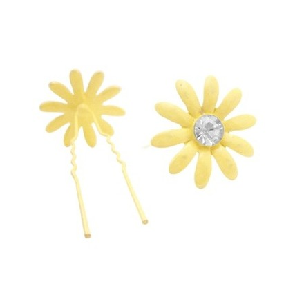 Yellow Metal Pin Flower Pin W/ Matching Crystals Hair Accessory