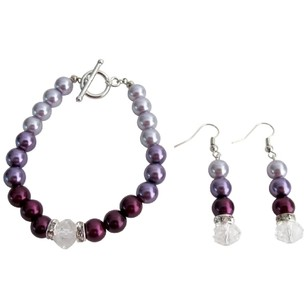 Modern Design Wedding Jewelry In Plum Color Bracelet Earrings Set