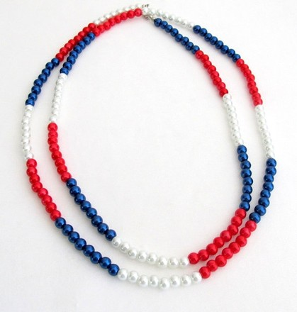 Red/Blue/White Patriotic Day Long Pearls Necklace