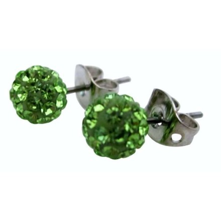 Green Peridot Crystals Pave Ball Stud Earrings