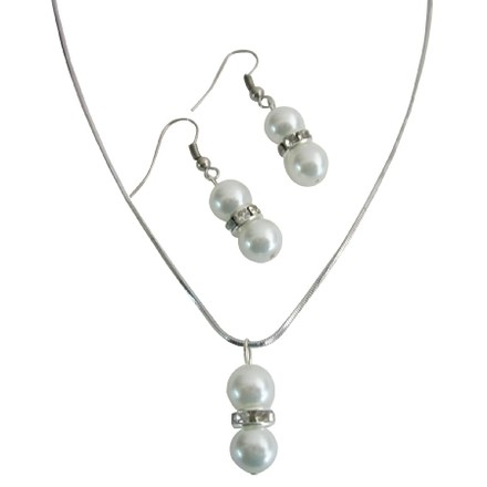 White Personalized Birthday Party Favors Pearls Jewelry Set