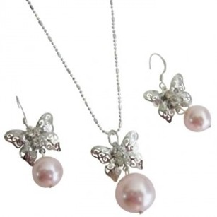 Prom Jewelry Sparkling Pink Pearls Butterfly Diamante Jewelry Set
