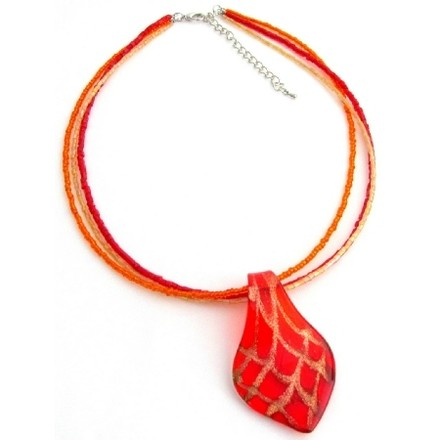 Red Murano Glass Pendant Necklace Seed Beads Necklace Glass Beads
