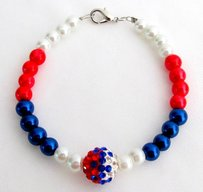 Red White Blue Pearls Usa Beaded Bracelet With Cute Pave Ball Celebrate Independence Day