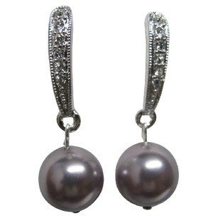 Rhinestones Surgical Post Earrings With Swarovski Mauve Pearl