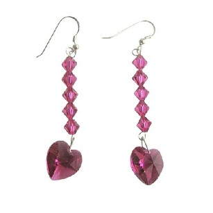 Romantic Earrings Fuchsia Heart Swarovski Crystal Sterling Silver 92.5 Earrings
