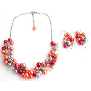 Salmon Lite Gray Magenta Gift Chunky Pearls Necklace Earrings Set Wedding Gift