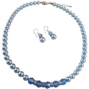 Blue Sapphire Crystals Pearls Necklace Jewelry Set