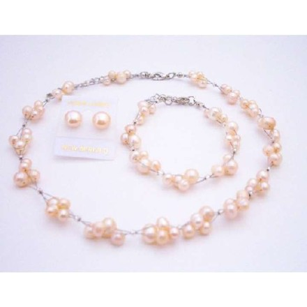 Shop Stylish Wedding Shower Gifts Peach Freshwater Pearls Necklace Set