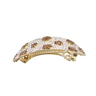 Golden/Brown Smoked Topaz Crystals Barrette Prom Clear Hair Accessory