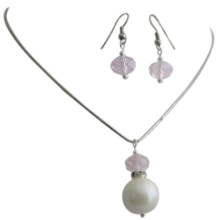 White Sophisticated Lustrous Pearls Rose Crystals Jewelry Set