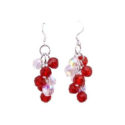 Red & White Sparkling Lite Siam Ab Crystal Grape Bunch Round Bead Earrings