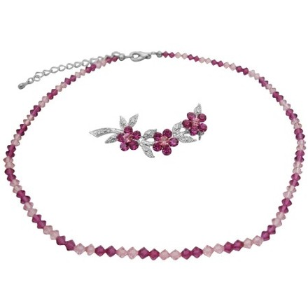 Swarovski Crystals Combo Of Necklace & Brooch Fuchsia & Rose Crystals