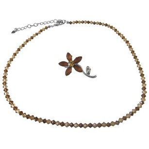 Swarovski Smoked Topaz Lite Colorado Crystals String Necklace & Brooch