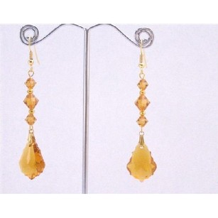 Swarovski Topaz Baroque 22mm Crystal Gold Beads In Gold Hook Earrings