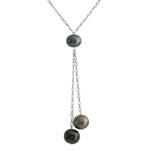 Tahitian Pearl With Green Oyster Shell Pearl Lariat Necklace