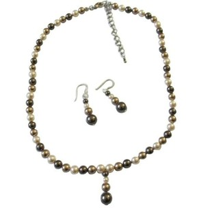 Ivory/Brown/Bronze Tricolor Bridesmaid Swarovski Pearls Jewelry Set