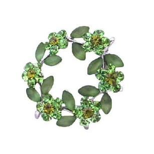 Unique Green Enamel Leaves Crystals Flower Brooch Pin
