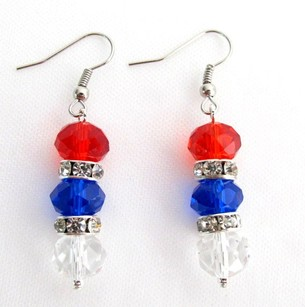 Red/Blue/White Usa Independence Patriotic 4th Of July Glass Crystal Beads Earrings