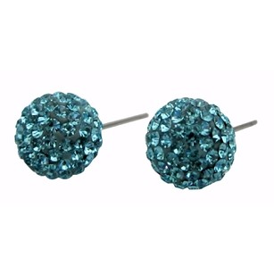 Versatility Pave Stud Earrings Aquamarine Crystals
