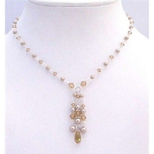 Wedding Bridesmaid Champagne Pearls Lite Colorado Crystals Jewelry Set