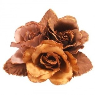 Brown Mocha Dress Gowns Satin Latte Flowers Cake Brooch/Pin