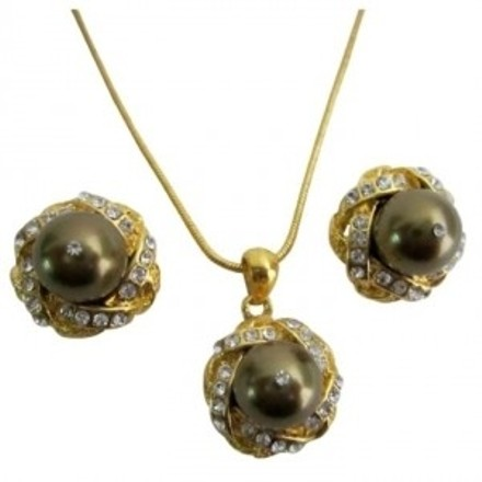 Gold & Brown Wholesale Elegant Prom Evening Pearls Jewelry Set
